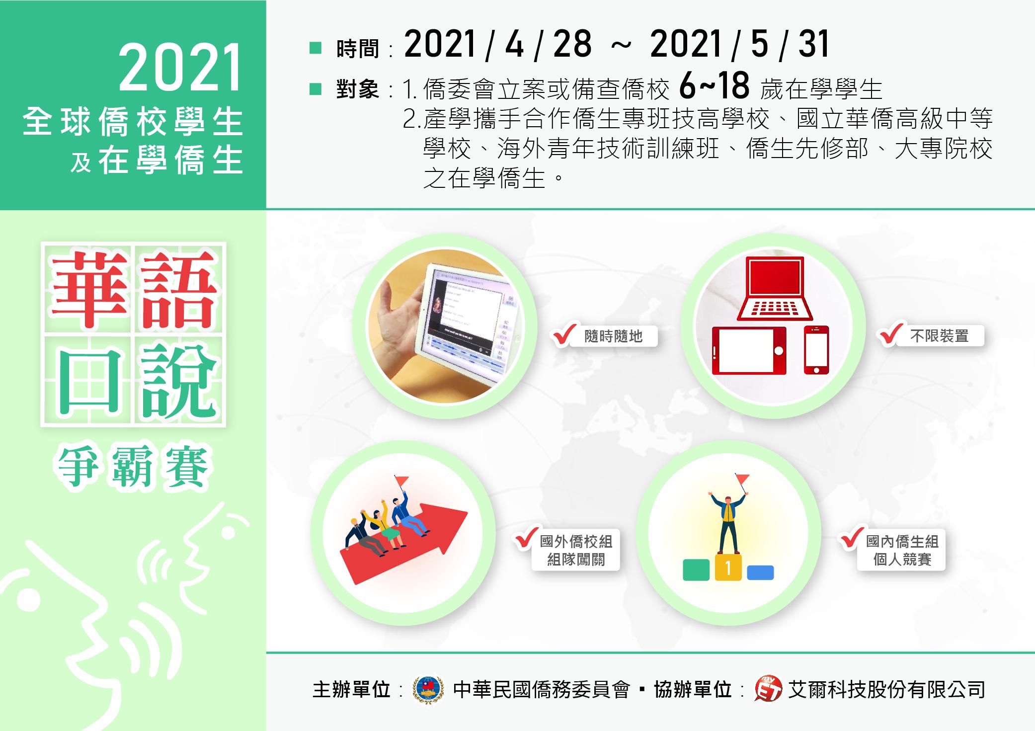 全球僑校學生及僑生華語口說爭霸賽(2021年4月14日起開放報名)